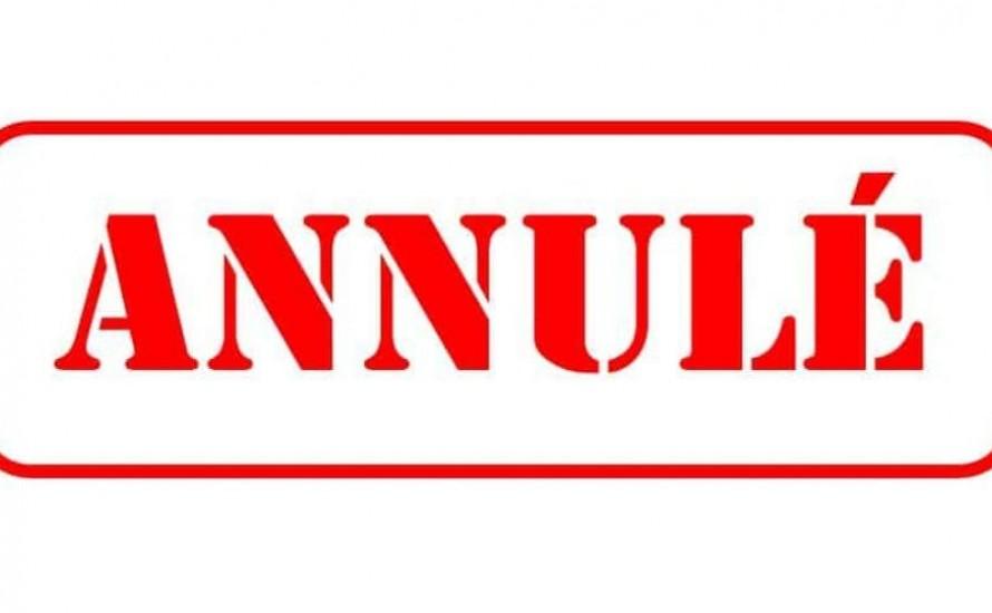 Cours de 16h30 et 17h30 annulés le 06/10/2021